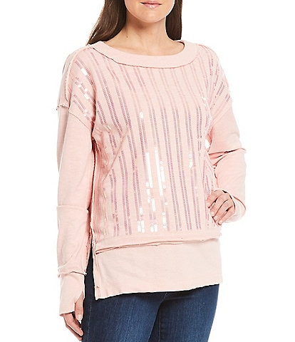 Tru Luxe Jeans Banded Scoop Neck Sequin Stripe Cotton Top With Thumbholes