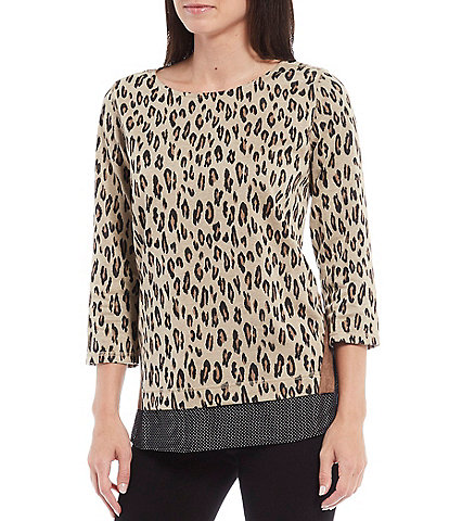 Tru Luxe Jeans Bateau Neck Leopard Jacquard 3/4 Sleeve Layered Top