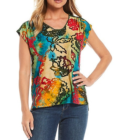 Tru Luxe Jeans Cap Sleeve Scoop Neck Burnout Print Top