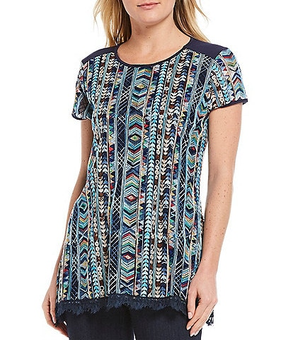 Tru Luxe Jeans Embroidered Mesh Fringe Hem Swing Top