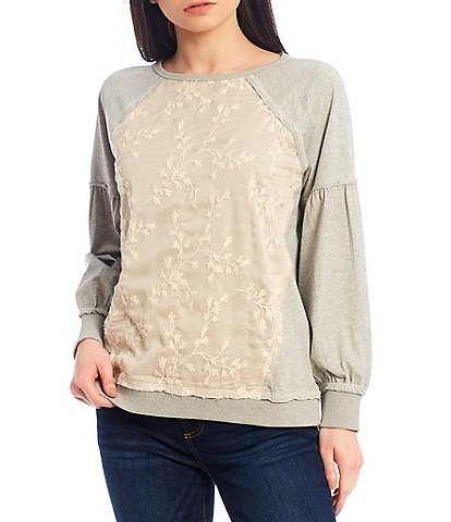 Tru Luxe Jeans Embroidered Overlay French Terry Sweatshirt
