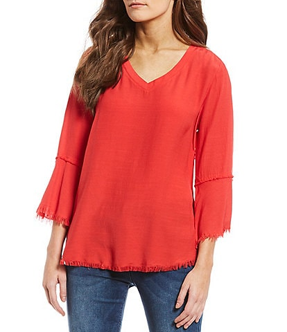 Tru Luxe Jeans Flounce Frayed Sleeve Lace Up Popover Top