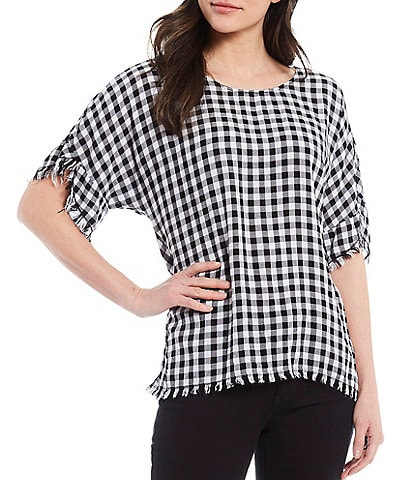 Tru Luxe Jeans Gingham Tulip Sleeve Lace Up Back Top