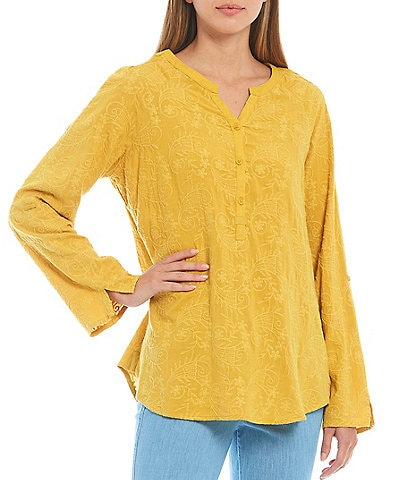 Tru Luxe Jeans Long Roll Tab Sleeve Tonal Embroidered Henley Tunic