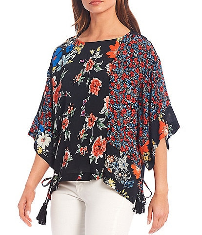 Tru Luxe Jeans Mixed Floral Print Side Tie Top