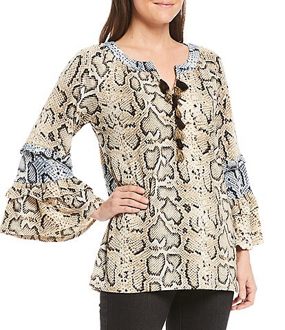 Tru Luxe Jeans Mixed Snake Print Flared Sleeve Top