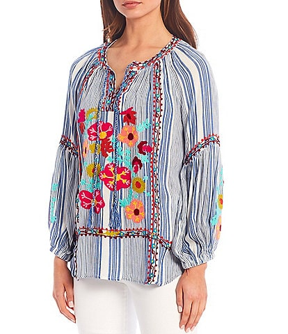 Tru Luxe Jeans Stripe Floral Embroidery Long Sleeve Peasant Top