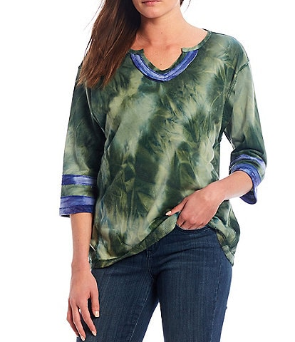 Tru Luxe Jeans Tie Dye Notch Neck 3/4 Sleeve Pullover Top