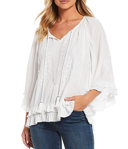 Tru Luxe Jeans Tonal Embroidery 3/4 Sleeve Ruffle Peasant Top