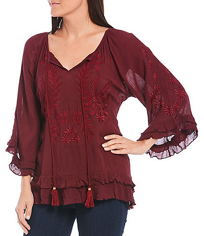 Tru Luxe Jeans V-Neck 3/4 Sleeve Ruffle Trim & Tonal Embroidery Peasant Top