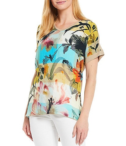 Tru Luxe Jeans V-Neck Short Sleeve Abstract Floral Print Top