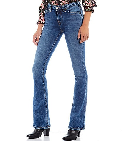True Religion Becca Mid Rise Bootcut Flap Pocket Stretch Denim Jeans