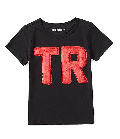 True Religion Big Girls 7-16 Faux Fur TR Short Sleeve Tee