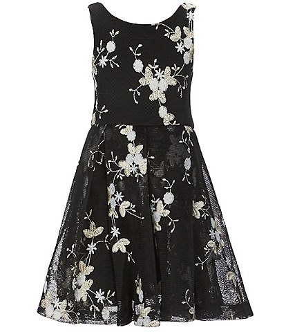 Truly Me Big Girls 7-16 Floral-Embroidered Fit-And-Flare Dress