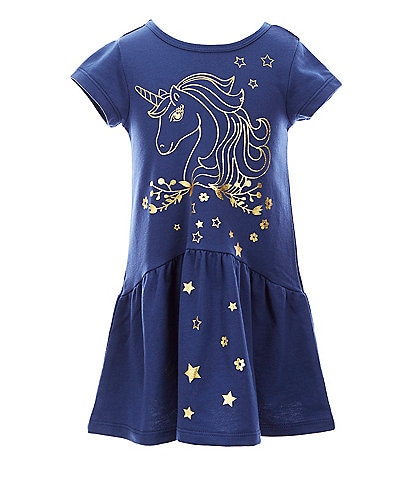 Truly Me Little Girls 2T-6X Foiled-Unicorn Drop-Waist Dress