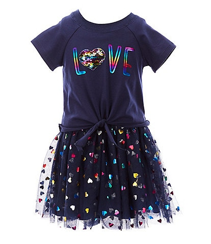 Truly Me Little Girls 2T-6X Love/Heart-Printed Tutu Dress