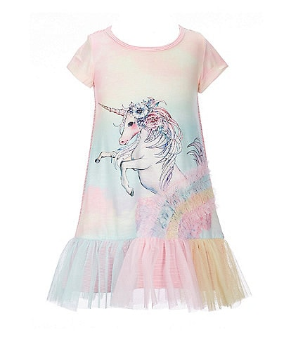 Truly Me Little Girls 2T-6X Mixed-Media Unicorn Tulle Drop-Waist Dress