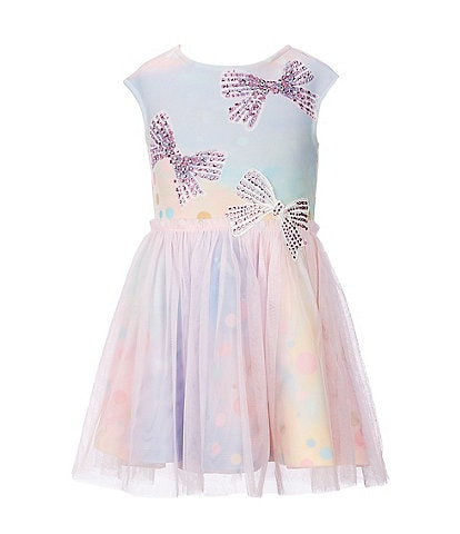 Truly Me Little Girls 2T-6X Rhinestone-Bow Tulle-Overlay Rainbow Fit-and-Flare Dress