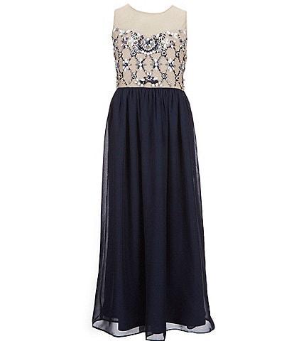Tween Diva Big Girls 7-16 Beaded/Chiffon Long A-Line Dress