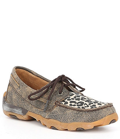 Twisted X Girls' Driving Leopard Print Moccasins (Youth)