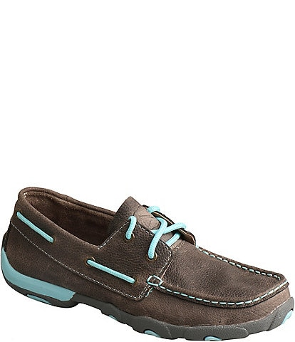 Twisted X Women's Leather Driving Moc Boat Shoes