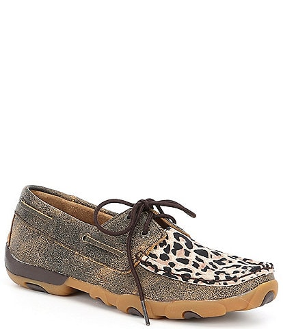 Twisted X Women's Leopard Boat Driving Mocs