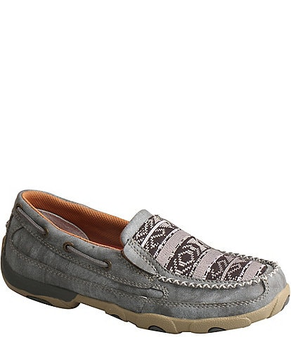 Twisted X Women's Printed Leather Slip On Driving Mocs