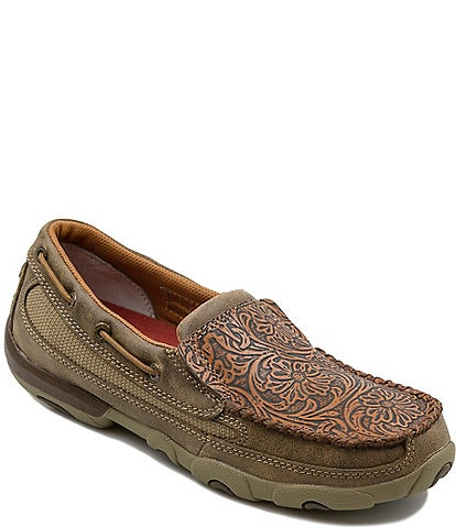 Twisted X Women's Tooled Slip On Driving Mocs