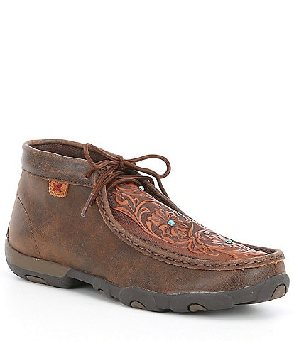 Twisted X Women's Tooled Turquoise Stud Chukka Driving Mocs