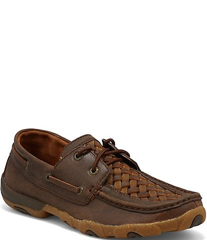 Twisted X Women's Woven Leather Boat Driving Moccasins