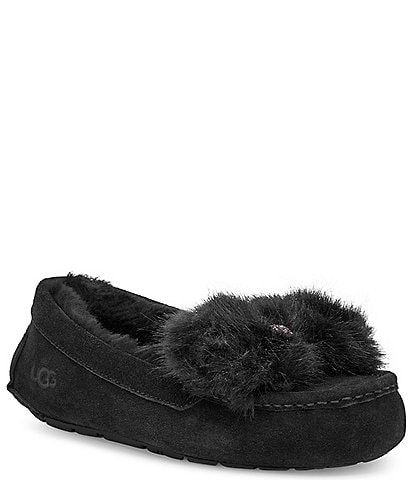 UGG Ansley Puff Faux-Fur Bow Suede Slippers