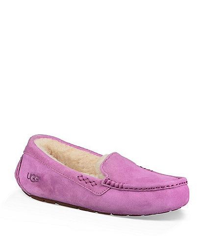 UGG® Ansley Water Resistant Suede Stitch Detailed Moccasin Slippers
