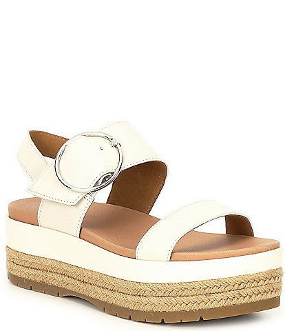 UGG® April Leather Espadrille Platform Sandals