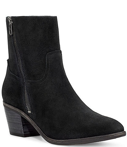 UGG® Breeda Waterproof Suede Block Heel Booties