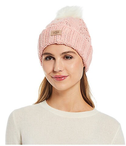 UGG Cable Knit Faux Fur Pom Beanie