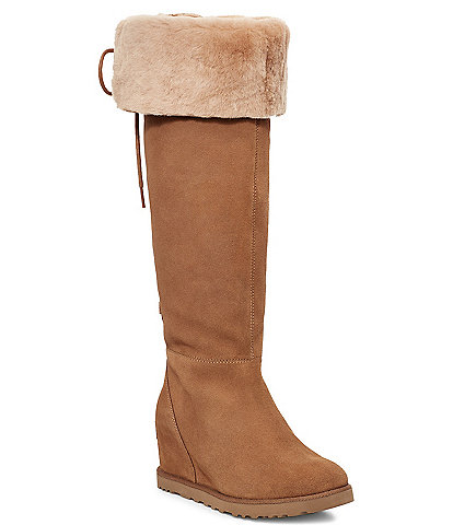 UGG® Classic Femme OTK Lace Over-The-Knee Water Repellent Suede Fur Collar Boots