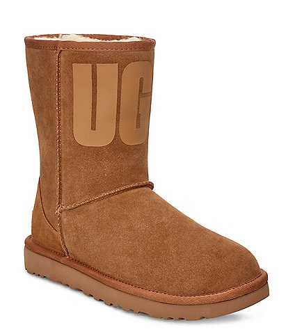 UGG® Classic Short UGG Rubber Logo Boots