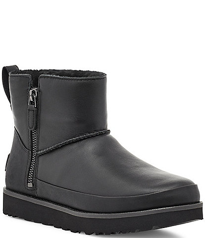 UGG® Classic Zip Mini Waterproof Leather Lug Sole Boots