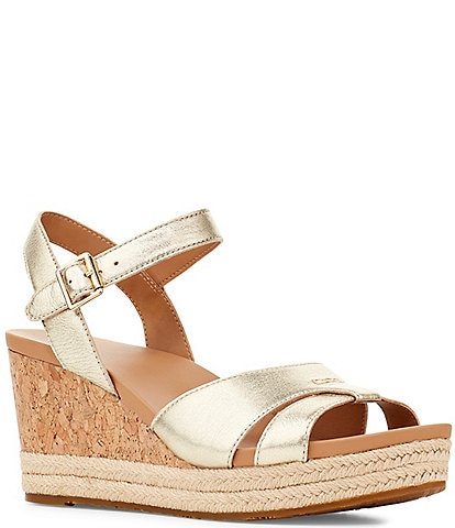 UGG® Cloverdale Metallic Leather Cork Wedges
