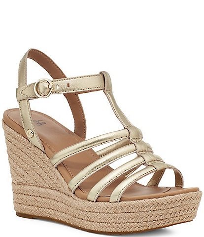 UGG® Cressida Metallic Leather Espadrille Wedges