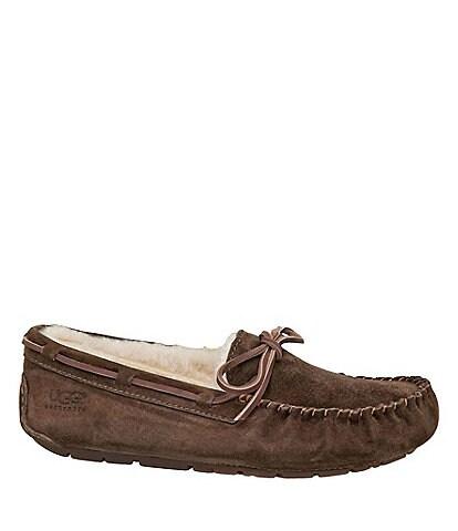UGG® Dakota Moccasin Leather Lace & Bow Slip-On Slippers