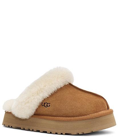 UGG® Disquette Suede Fur Flatform Slides