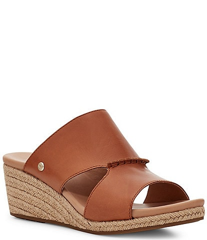 UGG® Eirene Leather Espadrille Wedge Sandals