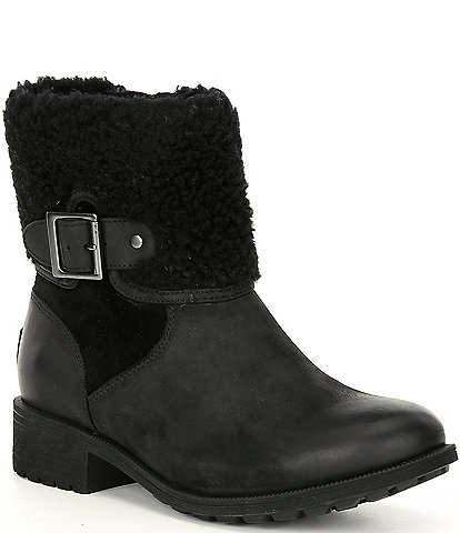 UGG® Elings Waterproof Leather Lug Sole Block Heel Boots