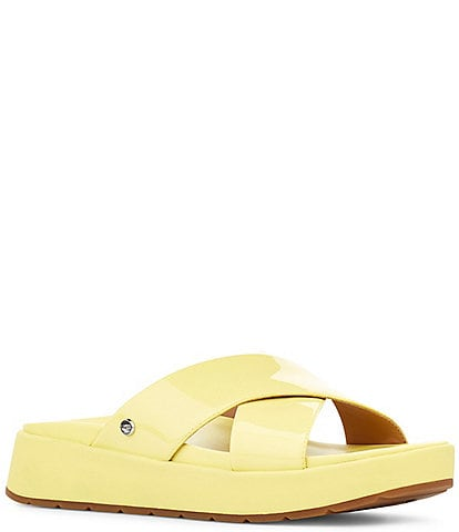 UGG Emily Square Toe Patent Leather Cross Slide Sandals
