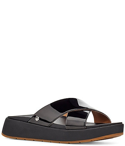UGG® Emily Square Toe Patent Leather Cross Slide Sandals