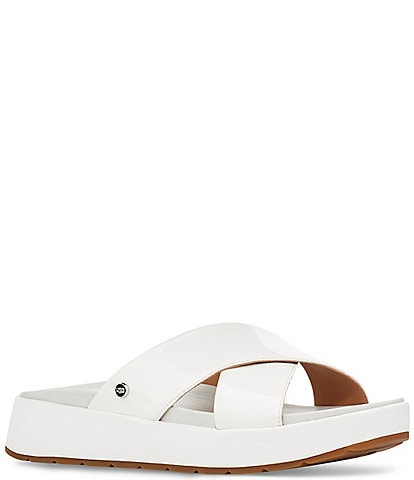 UGG Emily Square Toe Patent Cross Slide Sandals