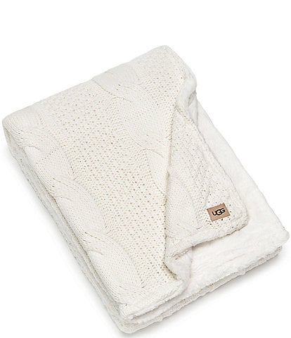 UGG Erie Cable Knit Faux Fur Throw