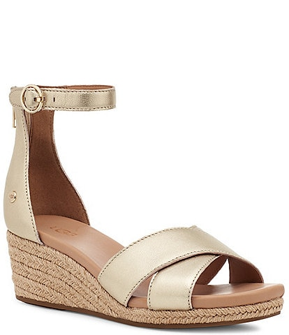 UGG® Eugenia Metallic Leather Ankle Strap Espadrille Wedge Sandals