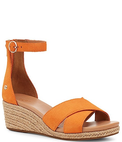 UGG® Eugenia Suede Ankle Strap Wedge Sandals